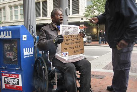 A homeless veteran